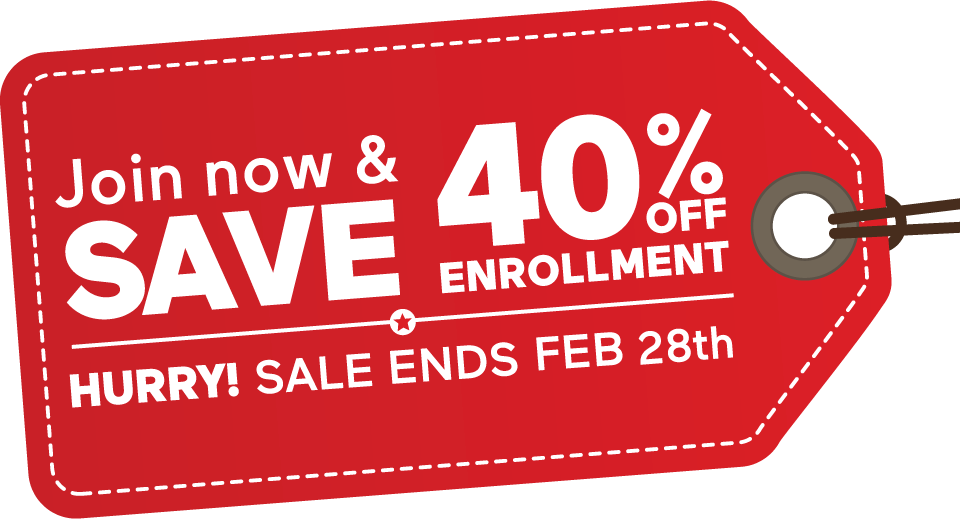 Join Now and Save 40% off Enrollment