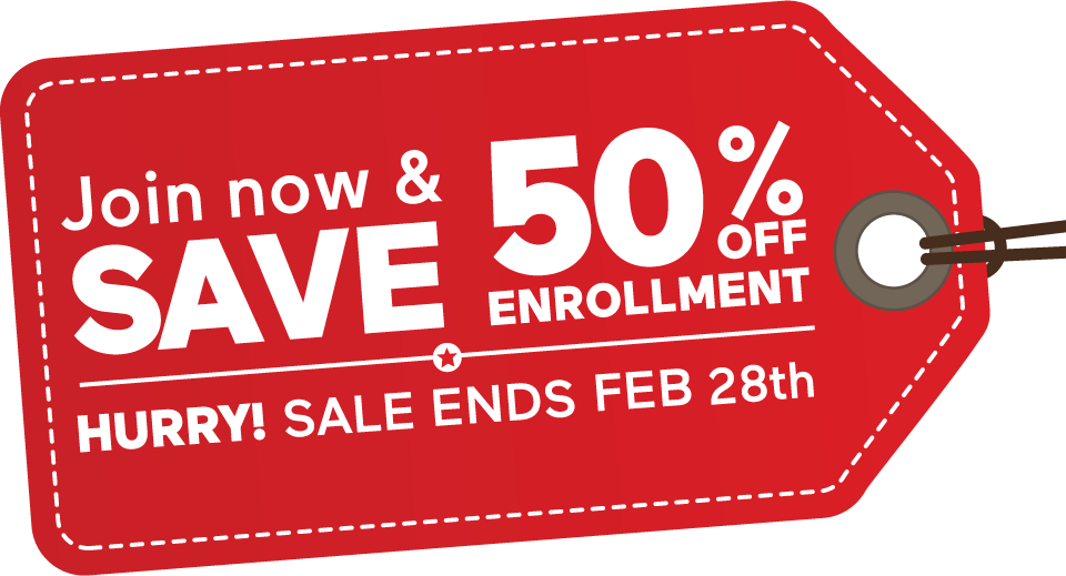 Join Now and Save 50% off Enrollment